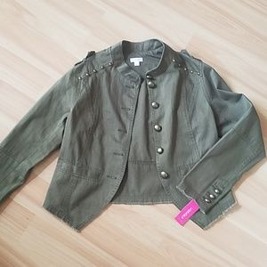 Olive Green Military cropped jacket